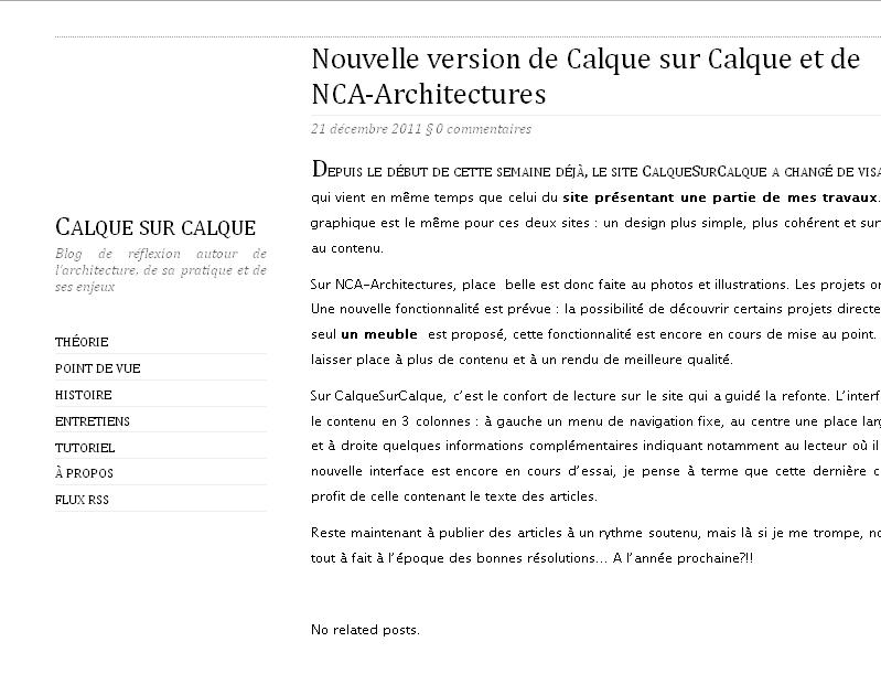 La mise à jour de l'interface du site Calque sur Calque