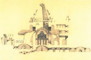 Coupe au crayon sur calque - Eglise - Projet de Roger Hummel